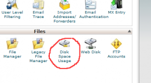 disk space usage cpanel